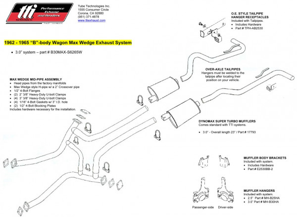 Exhaust System 3″ Max Wedge Wagon