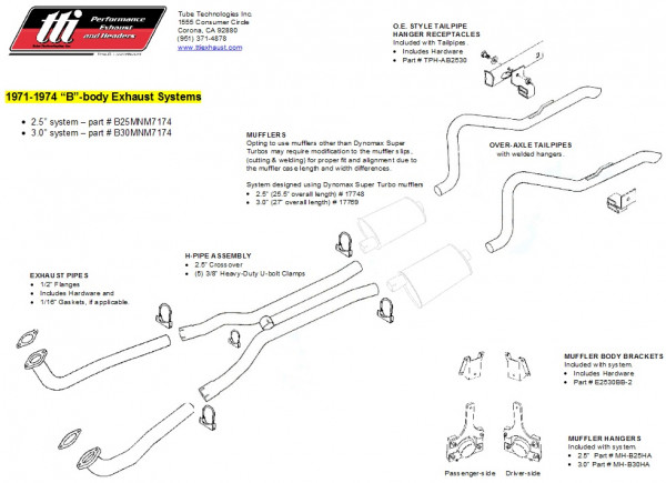 Exhaust System B-Body 71-74 3,0″ to Mfd. no Mufflers