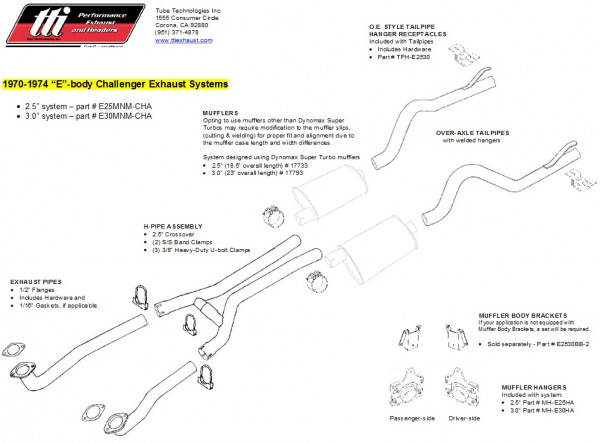 Exhaust System Challenger 70-74 2,5″ to Mfd. no Mufflers