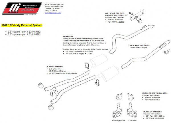 Exhaust System B-Body 62 3,0″ to Headers no Muffler