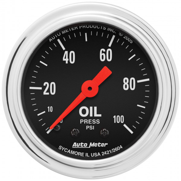 Gauge, Oil Pressure Traditional Chrome Series 2-1/16″ mechanical
