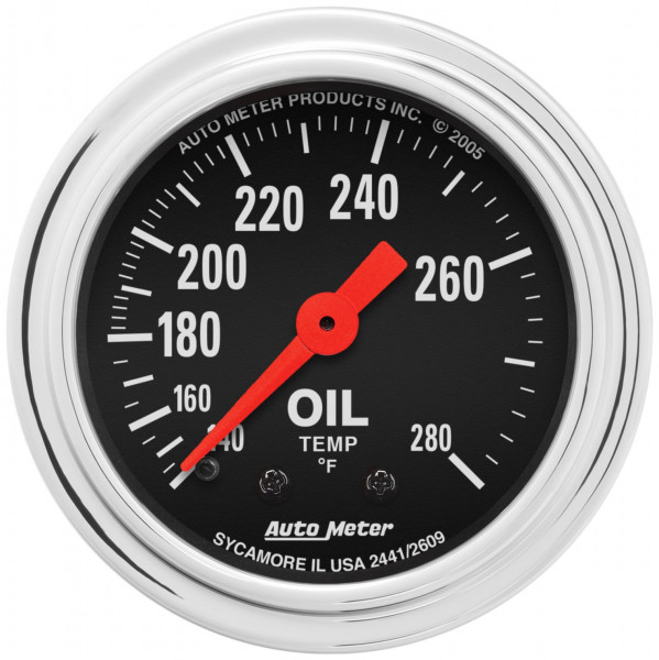 Gauge, Oil Temperature Traditional Chrome Series 2-1/16″ mechanical