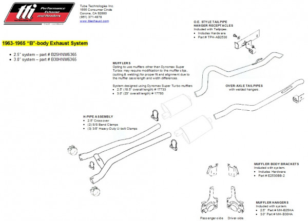 Exhaust System B-Body 63-65 3,0″ to Headers no Muffler