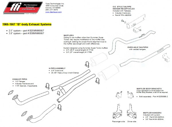 Exhaust System B-Body 66-67 3,0″ to Mfd. no Mufflers