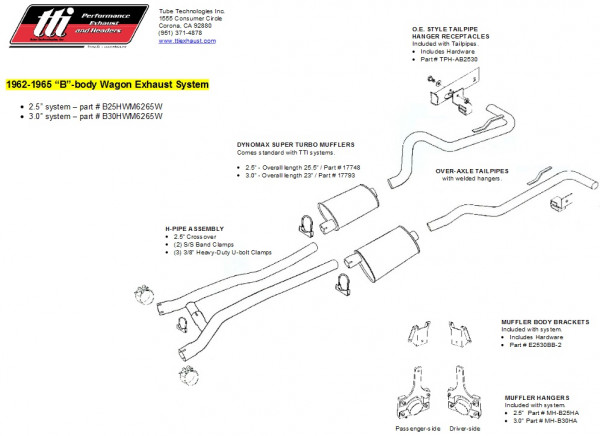 Exhaust System B-Body 62-65 Wagon 3,0″ to Headers w/ Muffler