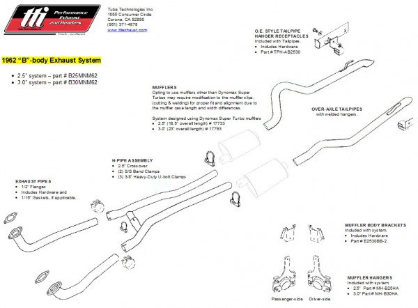 Exhaust System B-Body 62 3,0″ to Mfd. no Mufflers
