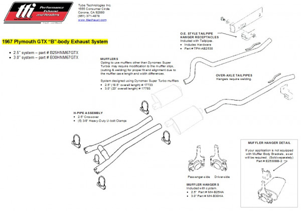 Exhaust System B-Body 66-67 GTX 3,0″ to Headers no Muffler