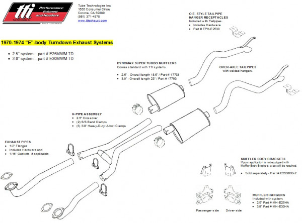 Exhaust System Cuda & Challenger 70-74 3,0″ to Mfd. w/ Mufflers