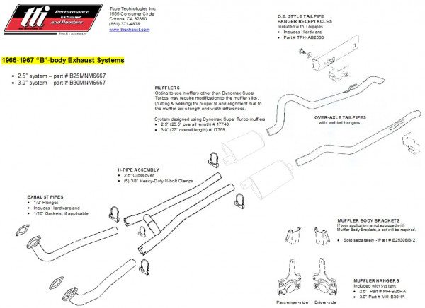 Exhaust System B-Body 66-67 2,5″ to Mfd. no Mufflers