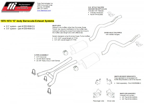 Exhaust System Cuda 70-74 3,0″ to Headers no Muffler