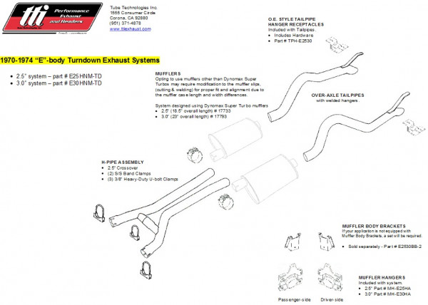 Exhaust System Cuda & Challenger 70-74 3,0″ to Headers no Muffler